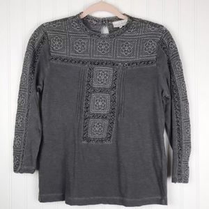 Lucky Brand NWT Embroidered Mock Neck Top Gray S